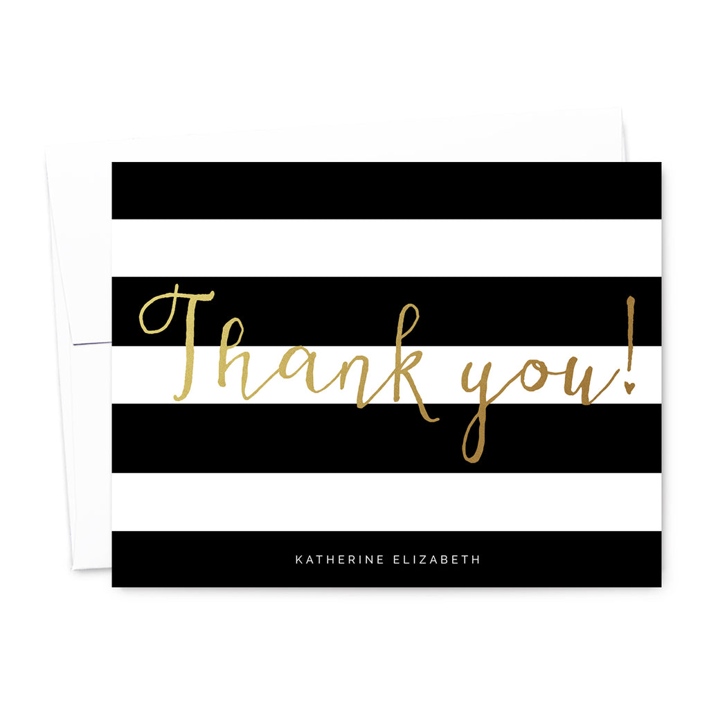 Striped Personalized Thank You Card Set | The Gold Paperclip