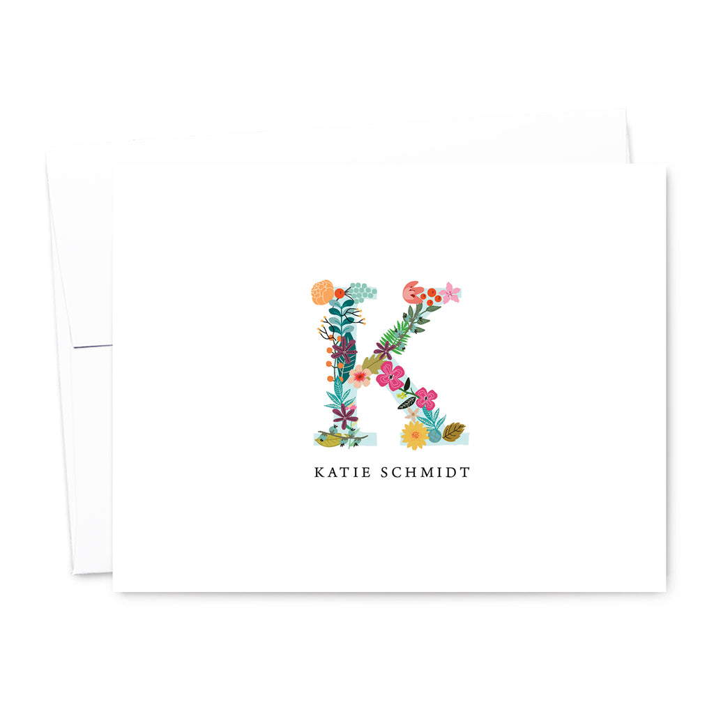 Floral Monogram Personalized Note Card Set | The Gold Paperclip