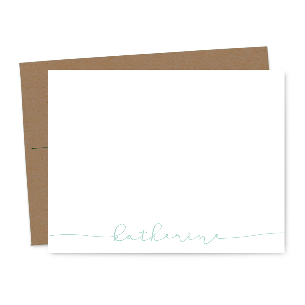 Modern Calligraphy Personalized Note Card Set | The Gold Paperclip