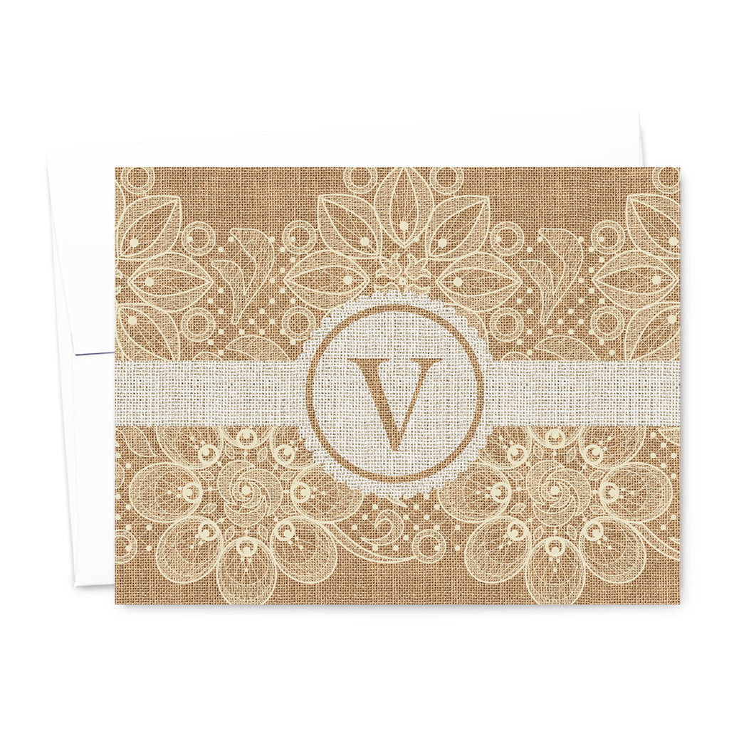 Burlap & Lace Monogram Personalized Note Card Set | The Gold Paperclip