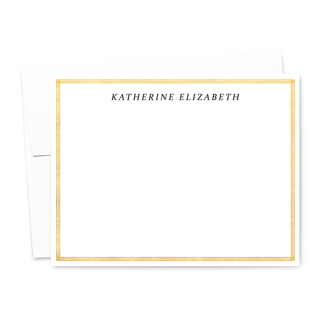 Gold Border Personalized Note Card Set | The Gold Paperclip