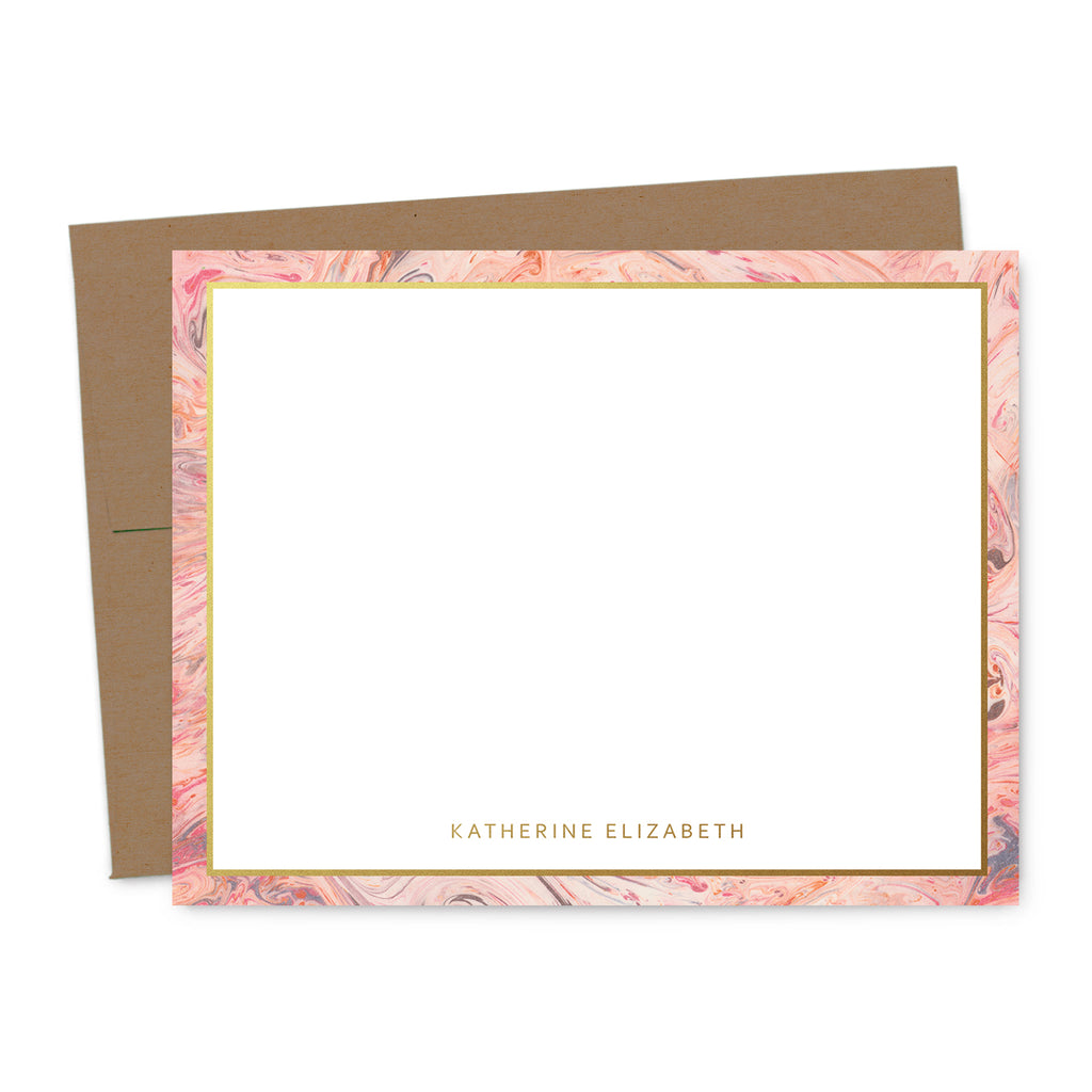 Blushing Marble Personalized Note Card Set | The Gold Paperclip
