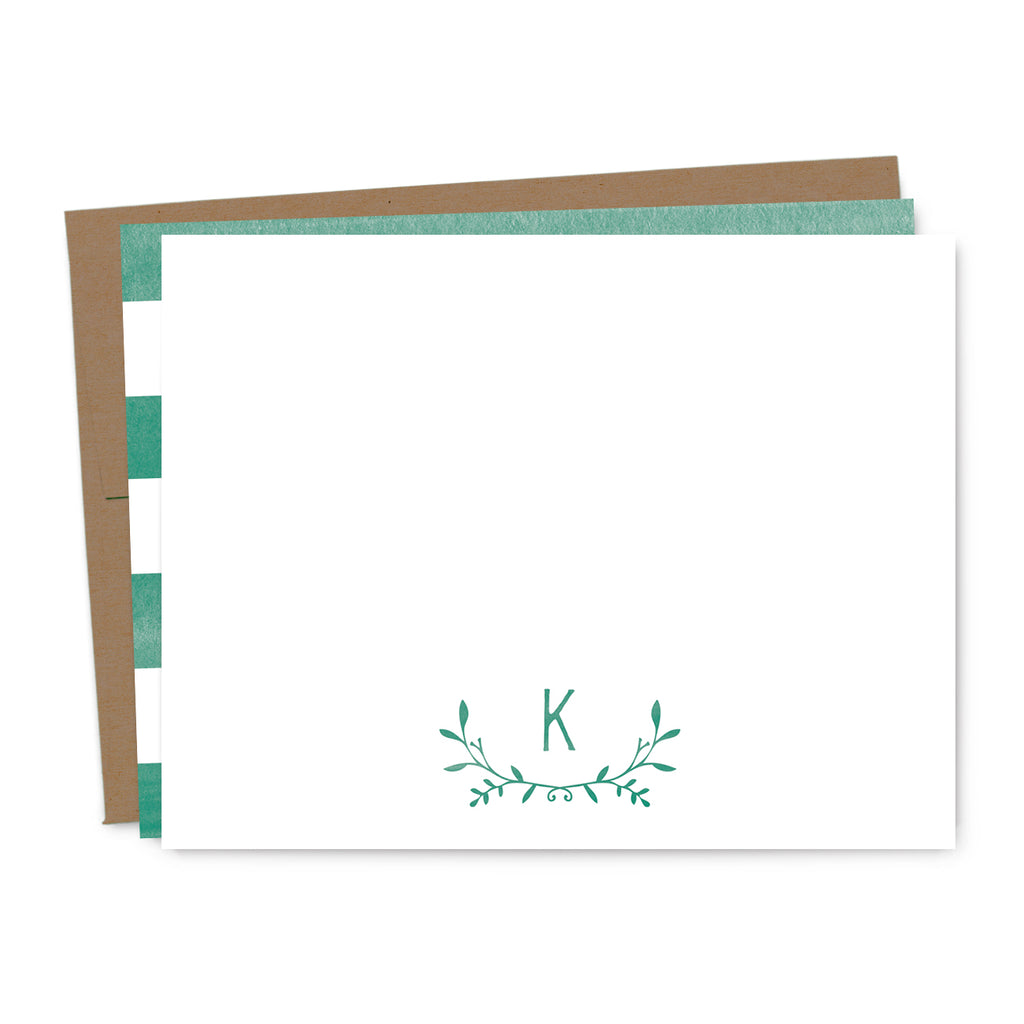 Leafy Laurel Monogram Personalized Note Card Set | The Gold Paperclip