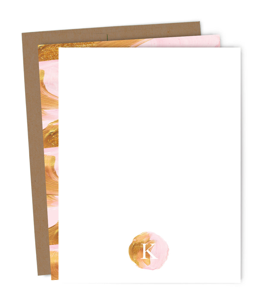 Pink & Gold Paint Monogram Personalized Note Card Set | The Gold Paperclip