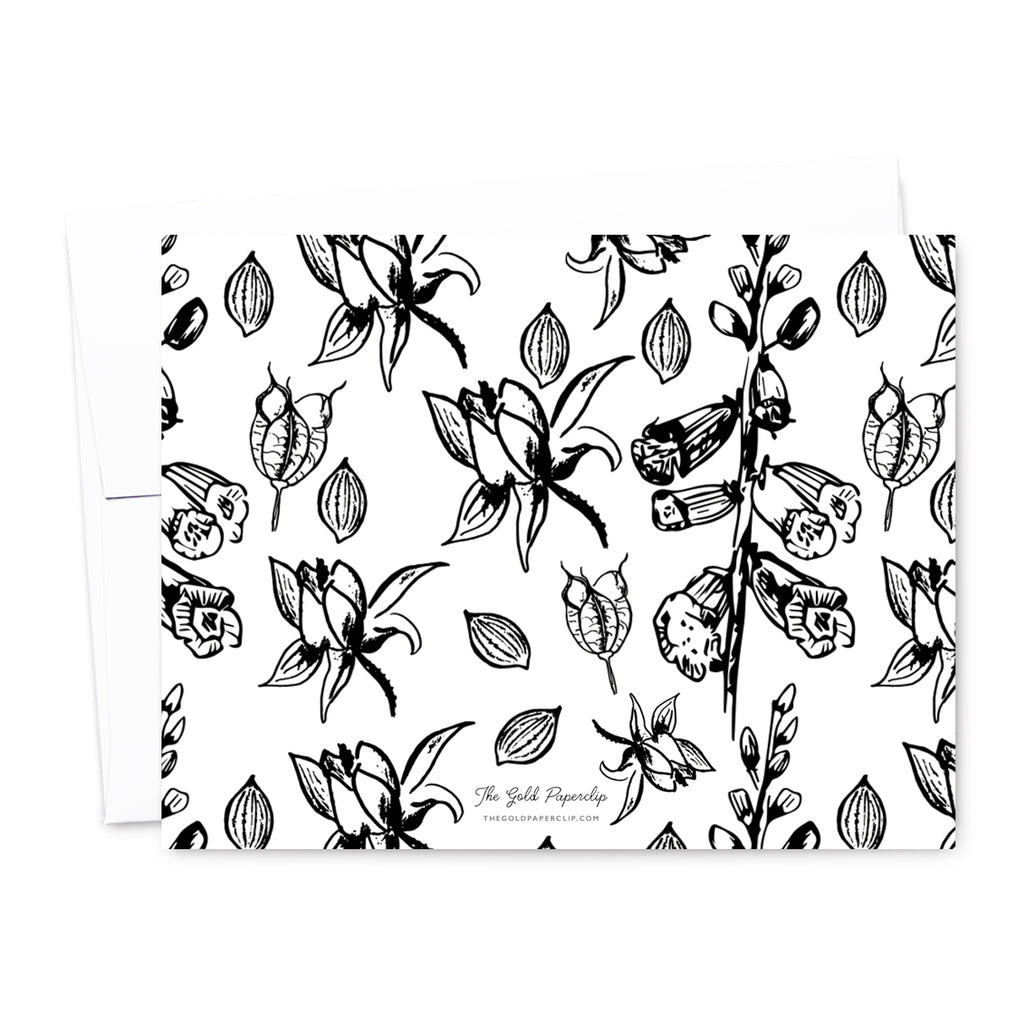 Black & White Floral Personalized Note Card Set | The Gold Paperclip