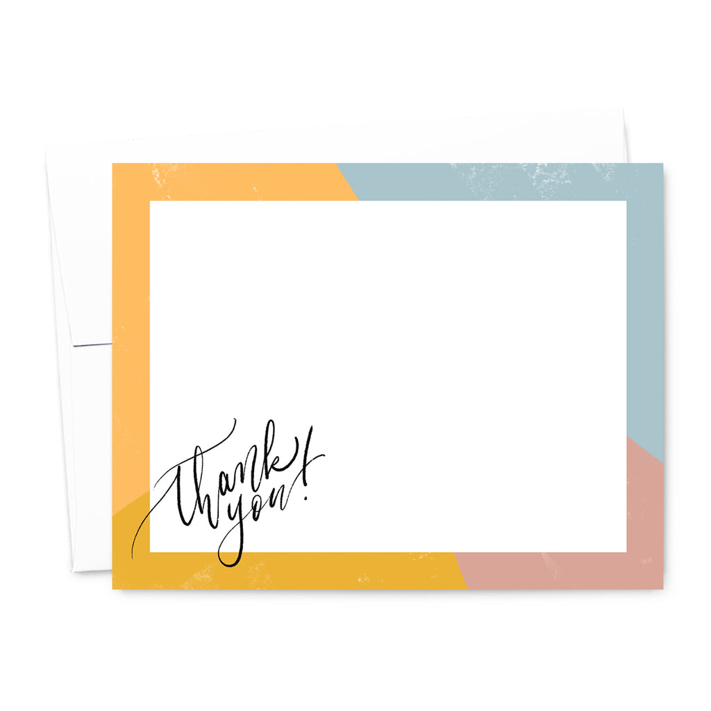 Modern Color Block Thank You Note Card Set | The Gold Paperclip