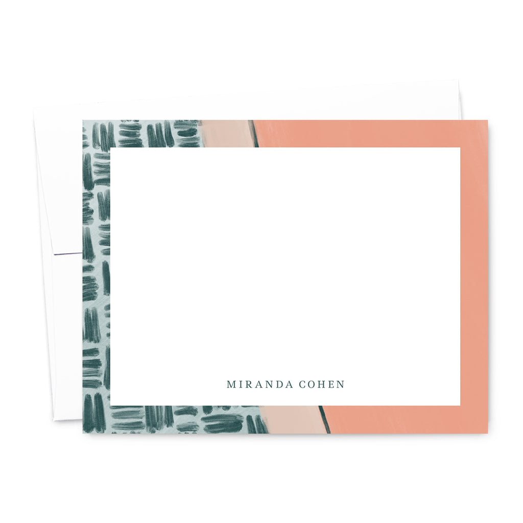 Emerald & Salmon Abstract Personalized Note Card Set | The Gold Paperclip