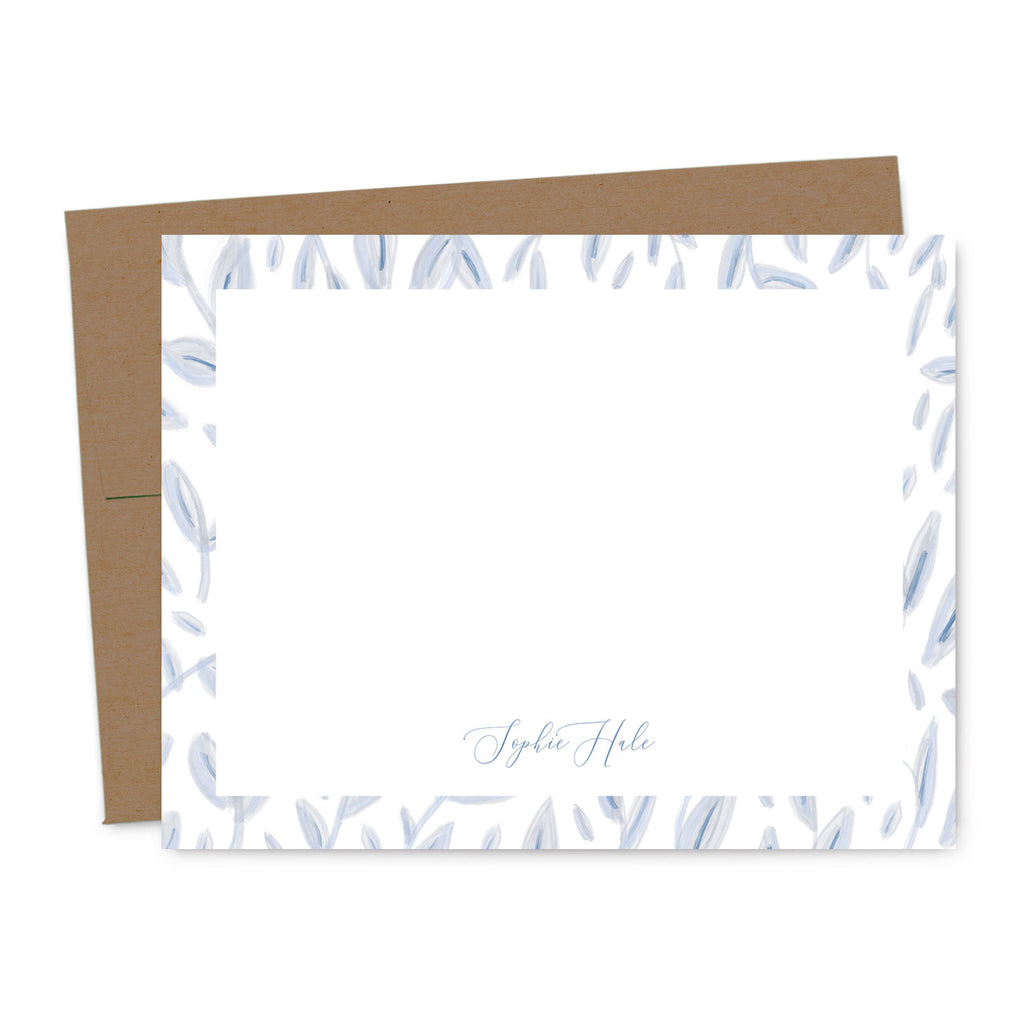 Periwinkle Vine Personalized Note Card Set