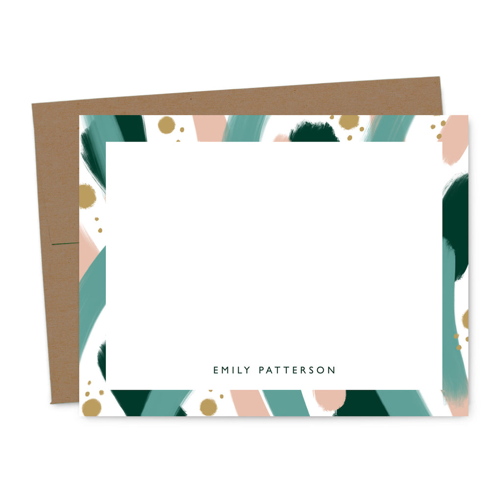 Abstract Paint Strokes Personalized Note Card Set | The Gold Paperclip