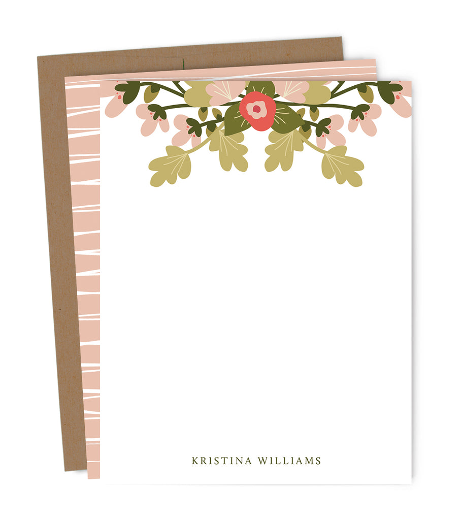 Spring Floral Personalized Note Card Set