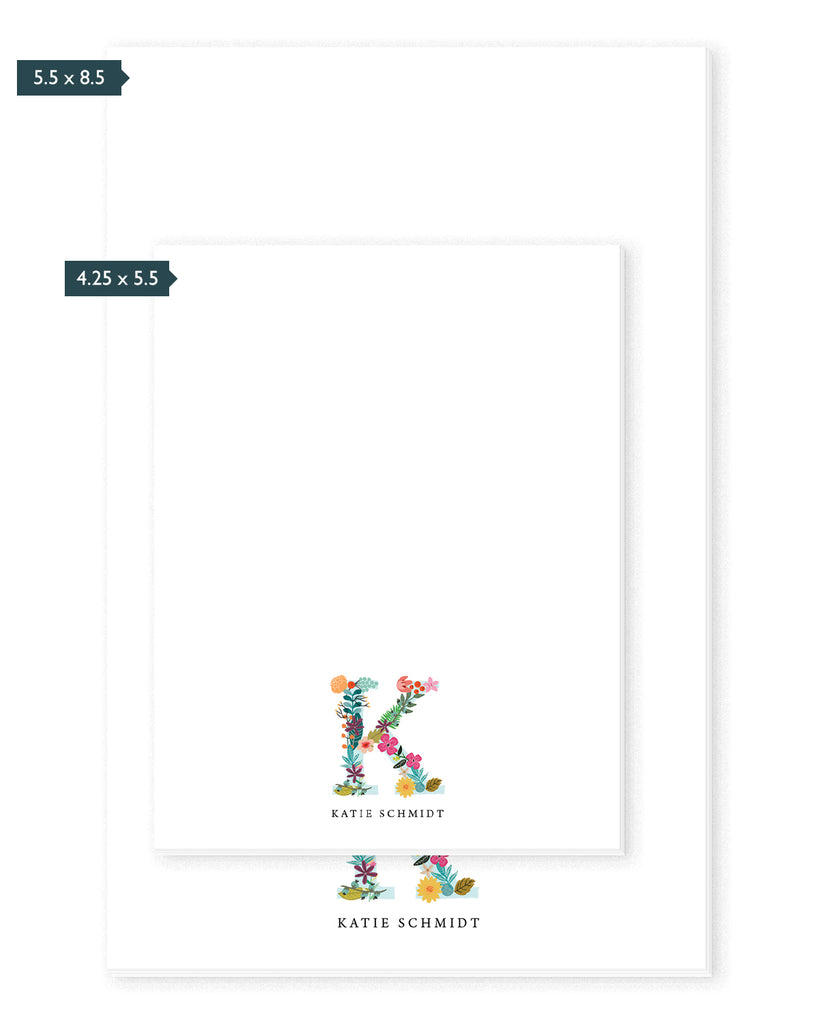 Floral Monogram Personalized Notepad | The Gold Paperclip