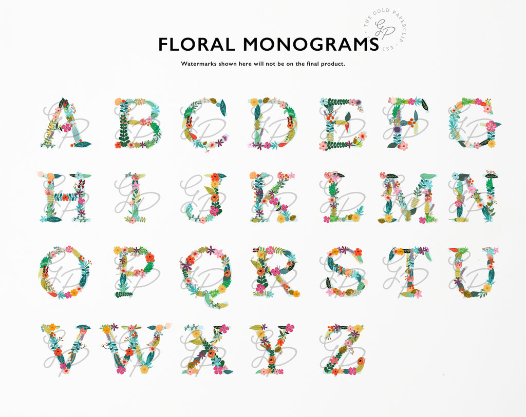 Floral Monogram Options | The Gold Paperclip