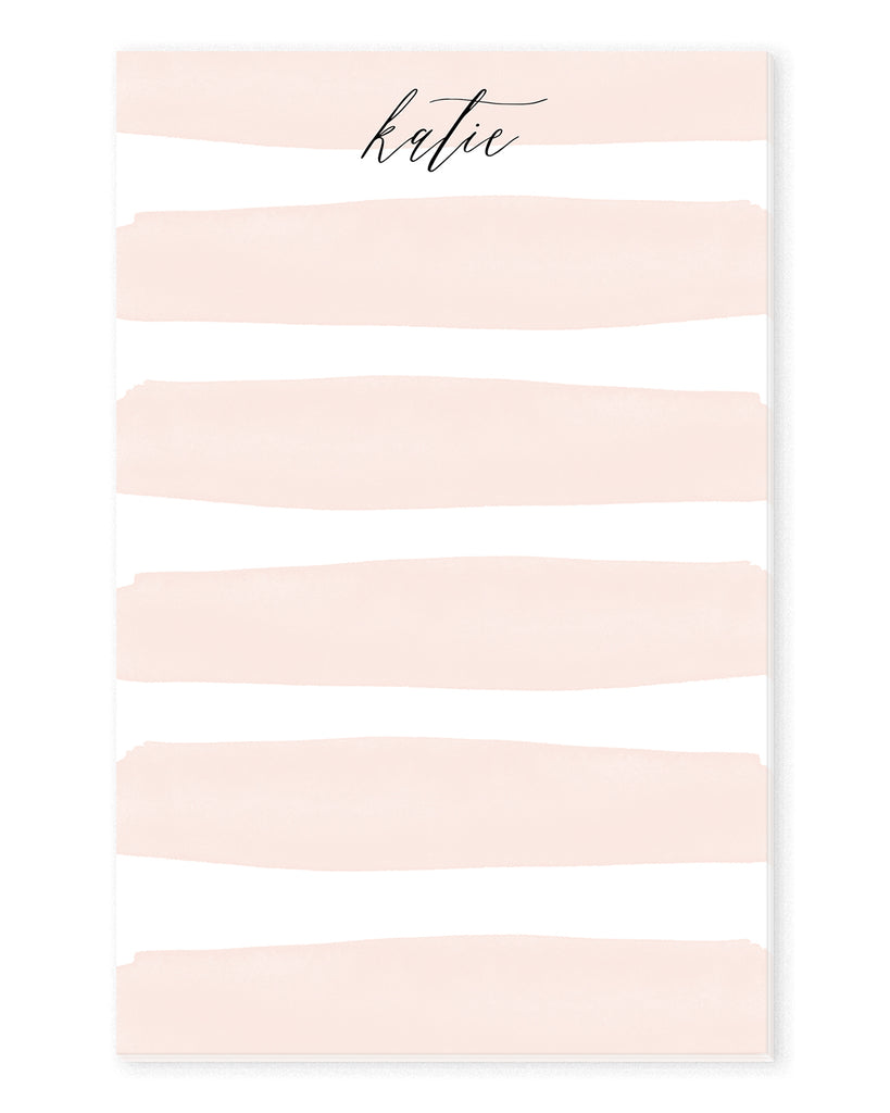 Pink Watercolor Stripes Personalized Notepad | The Gold Paperclip
