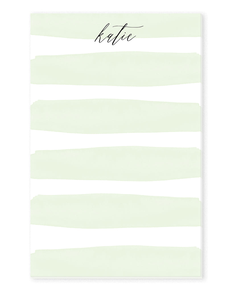 Green Watercolor Stripes Personalized Notepad | The Gold Paperclip