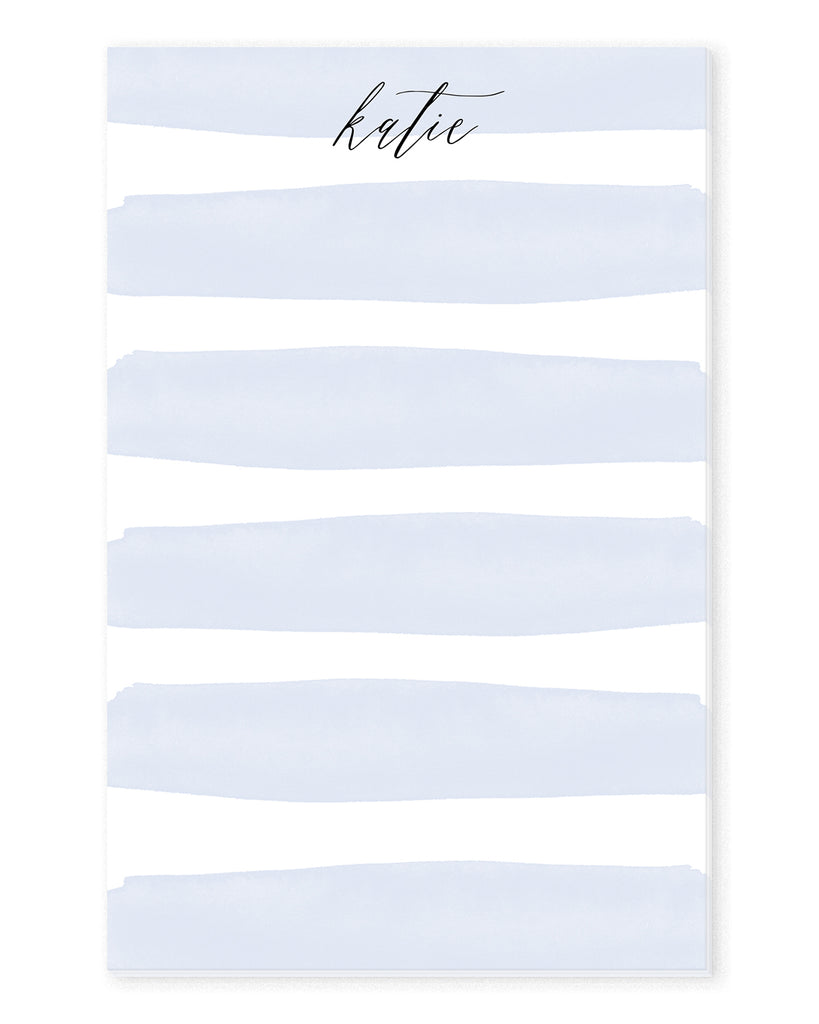 Blue Watercolor Stripes Personalized Notepad | The Gold Paperclip