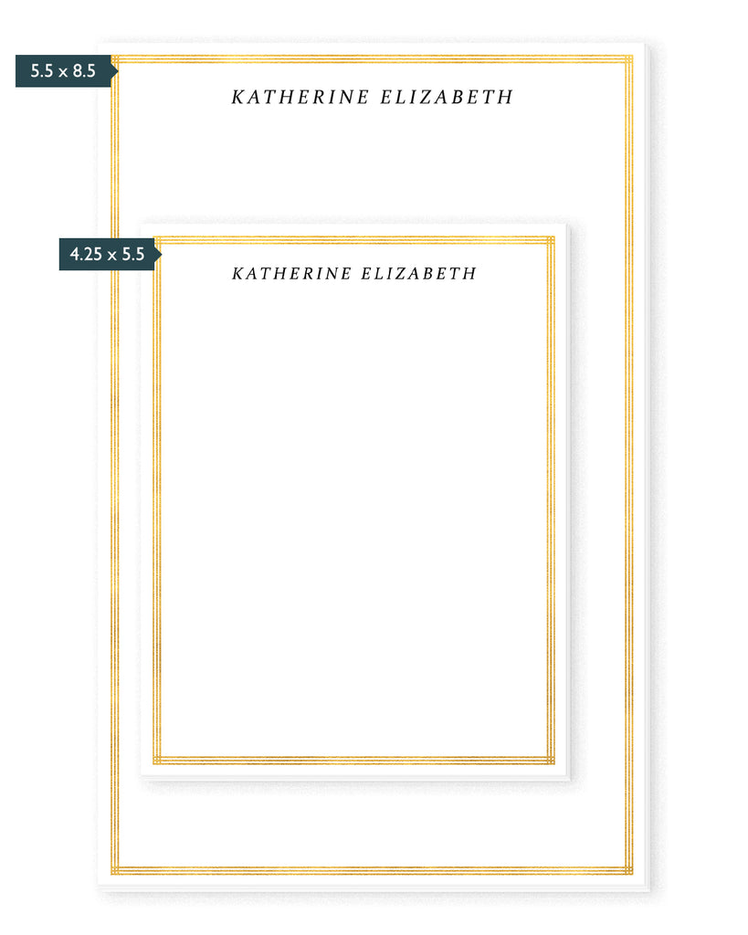 Art Deco Gold Border Personalized Notepad | The Gold Paperclip