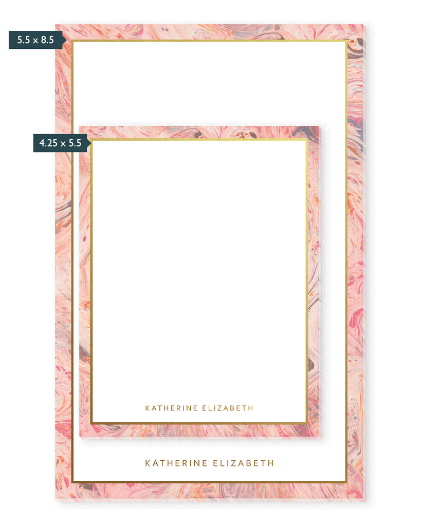 Blushing Marble & Gold Personalized Notepad | The Gold Paperclip