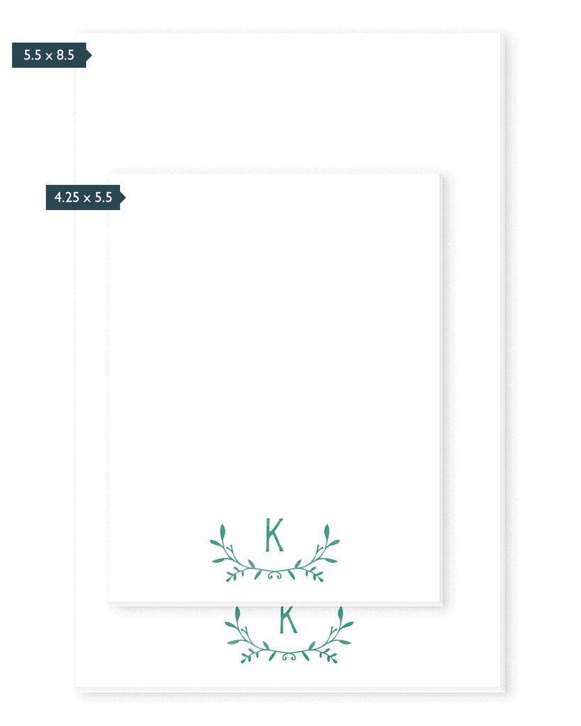 Leafy Laurel Monogram Personalized Notepad | The Gold Paperclip
