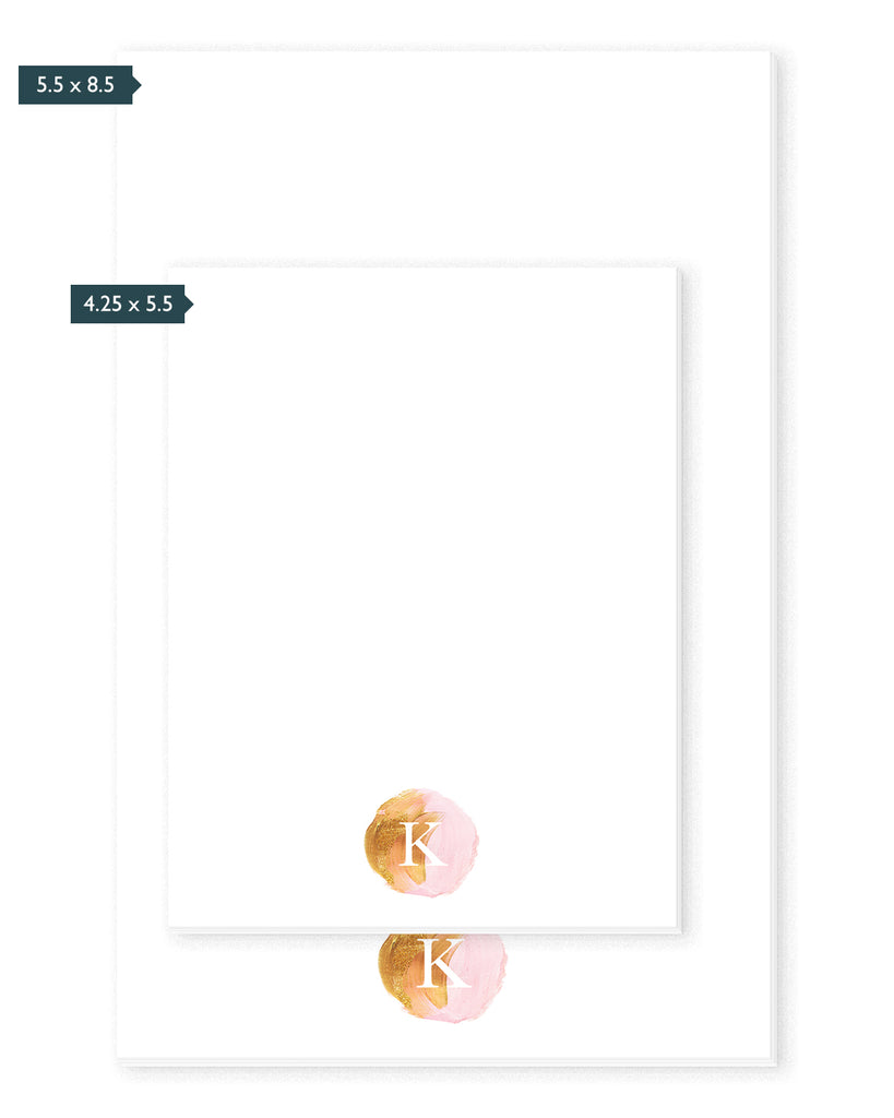 Pink & Gold Paint Monogram Personalized Notepad | The Gold Paperclip