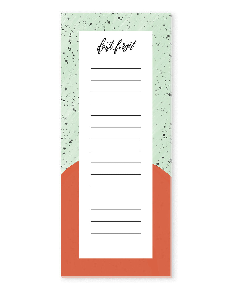 Speckled Mint & Red To Do List Notepad | The Gold Paperclip