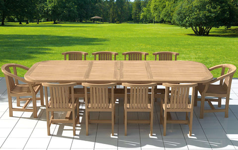 Garden Deluxe Extending 120 x 200-300cm (8 - 12 Seater) Teak Table & Chairs