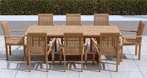 Garden Extending Dining Table 180-240cm & 8 Chairs
