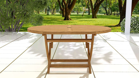 Oval Folding Teak Table 4-6 Seater