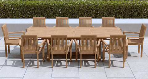 Garden Extending Dining Table & 10 Chairs
