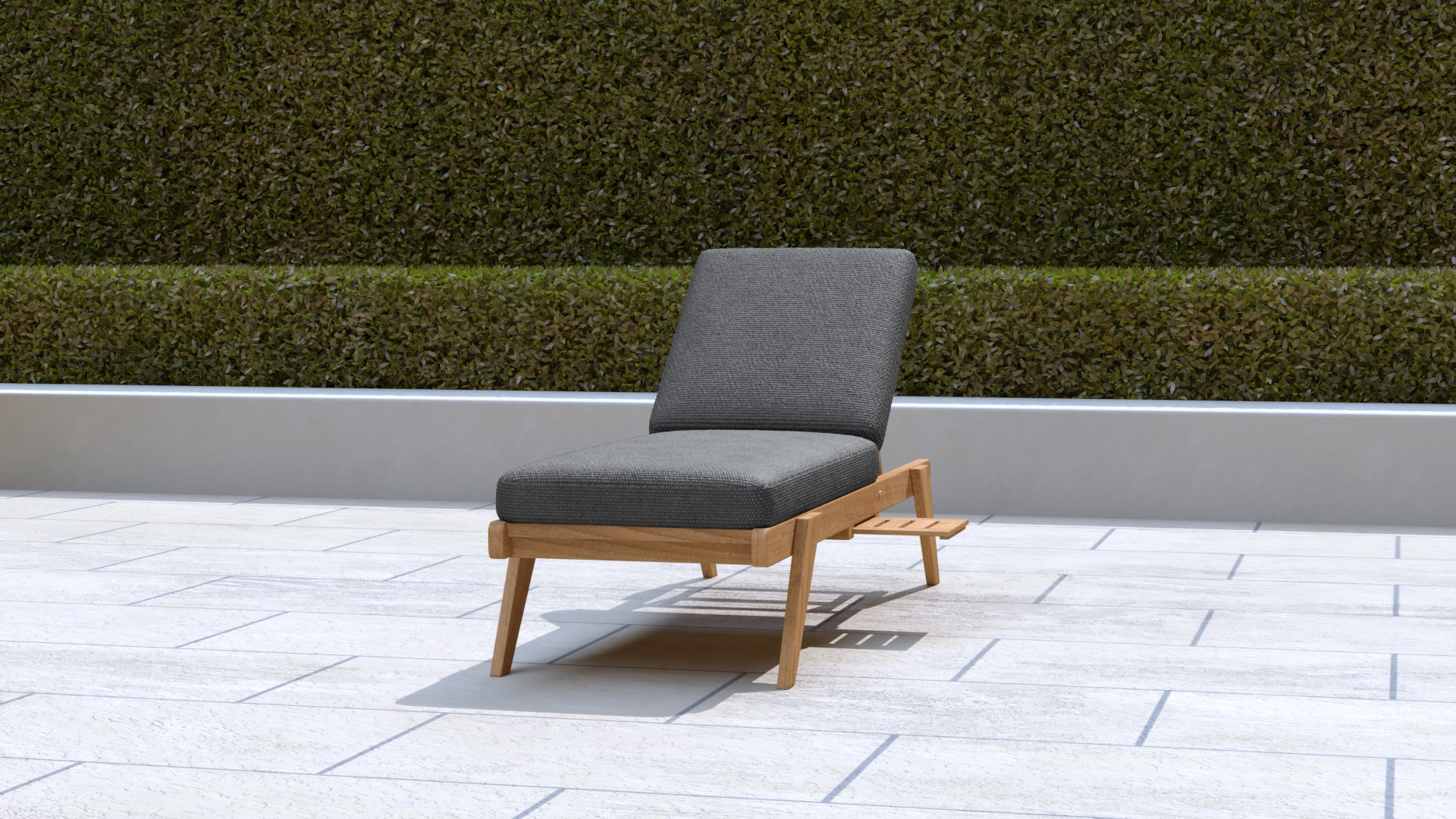 Teak Sun Lounger Stackable (Graphite Cushion)  - Chic Teak® | Luxury Teak Furniture