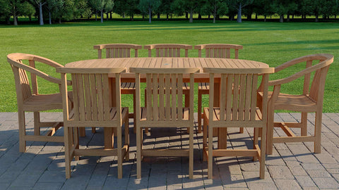Teak Elliptical Garden Dining Table & 8 Winchester Chairs