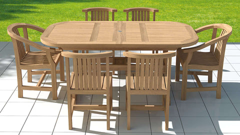 Garden Deluxe Extending 130-180cm (6-8 Seater) Dining Table & Chairs