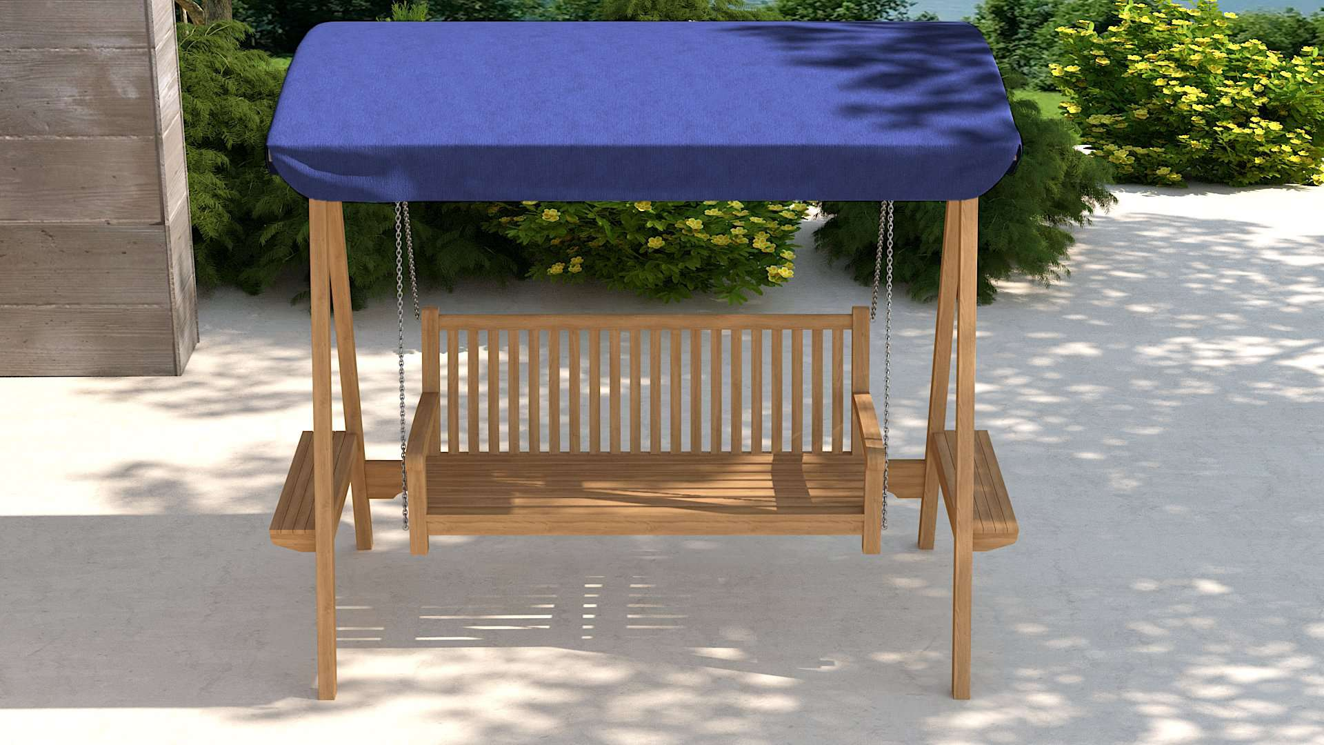 Teak Swing Seat - Blue Canopy  - Chic Teak® | Luxury Teak Furniture