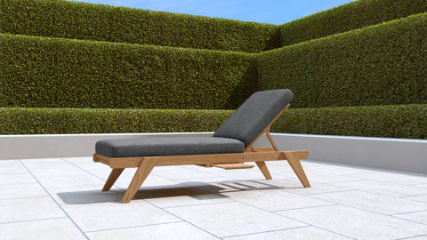 Teak Sun Lounger Stackable (Graphite Cushion)
