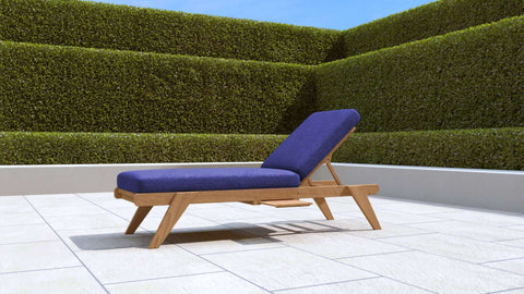 Teak Sun Lounger Stackable (Blue Cushion)