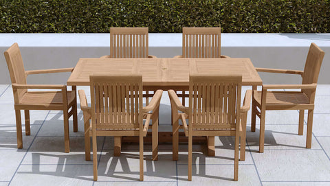Garden Extending Dining Table & 6 Wells Chairs