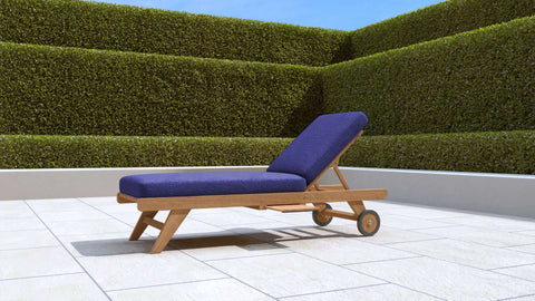 Teak Sun Lounger With Wheels (Blue Cushion)