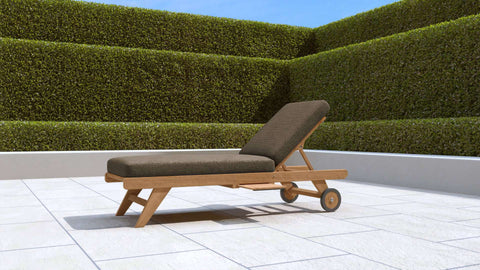 Teak Sun Lounger With Wheels (Cocoa Cushion)