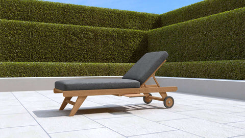 Teak Sun Lounger With Wheels (Graphite Cushion)
