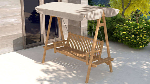 Teak Swing Seat - Natural Canopy