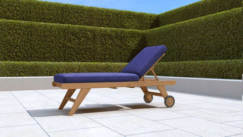 Teak Sun Lounger High Level with Wheels (Blue Cushion)
