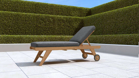 Teak Sun Lounger High Level with Wheels (Graphite Cushion)
