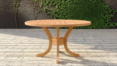 Garden Teak Pedestal Table 135cm (4-6 Seater)