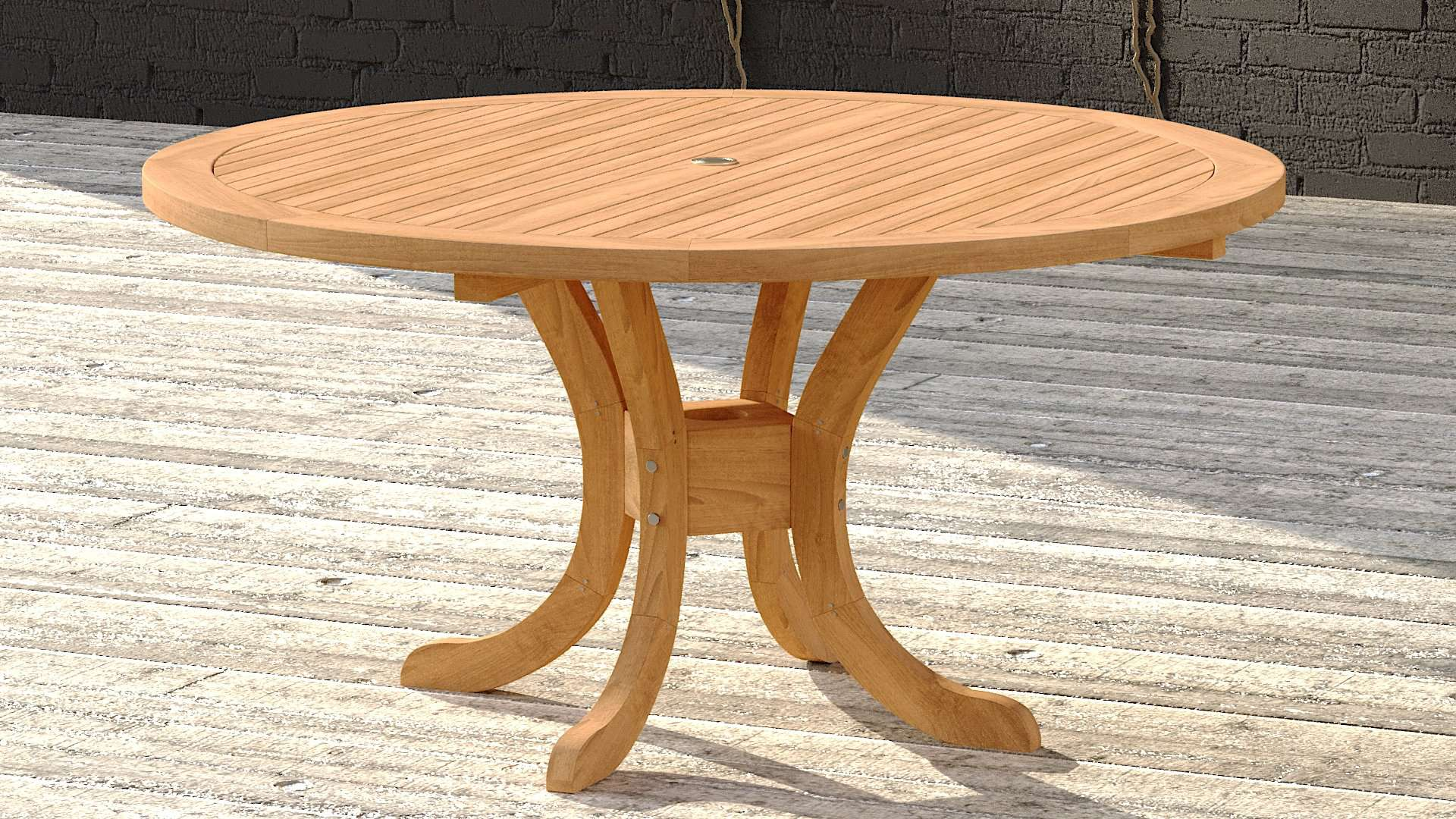 Garden Teak Pedestal Table 150cm (6 Seater)  - Chic Teak® | Luxury Teak Furniture
