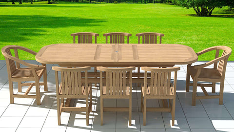 Garden Deluxe Extending 180-240cm (8-12 Seater) Table & Chairs