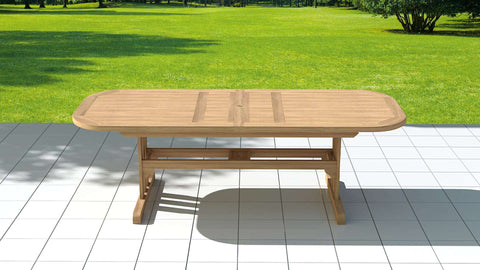 Garden Deluxe Extending Teak Dining Table 120 x 200-300cm (10-12 Seater)