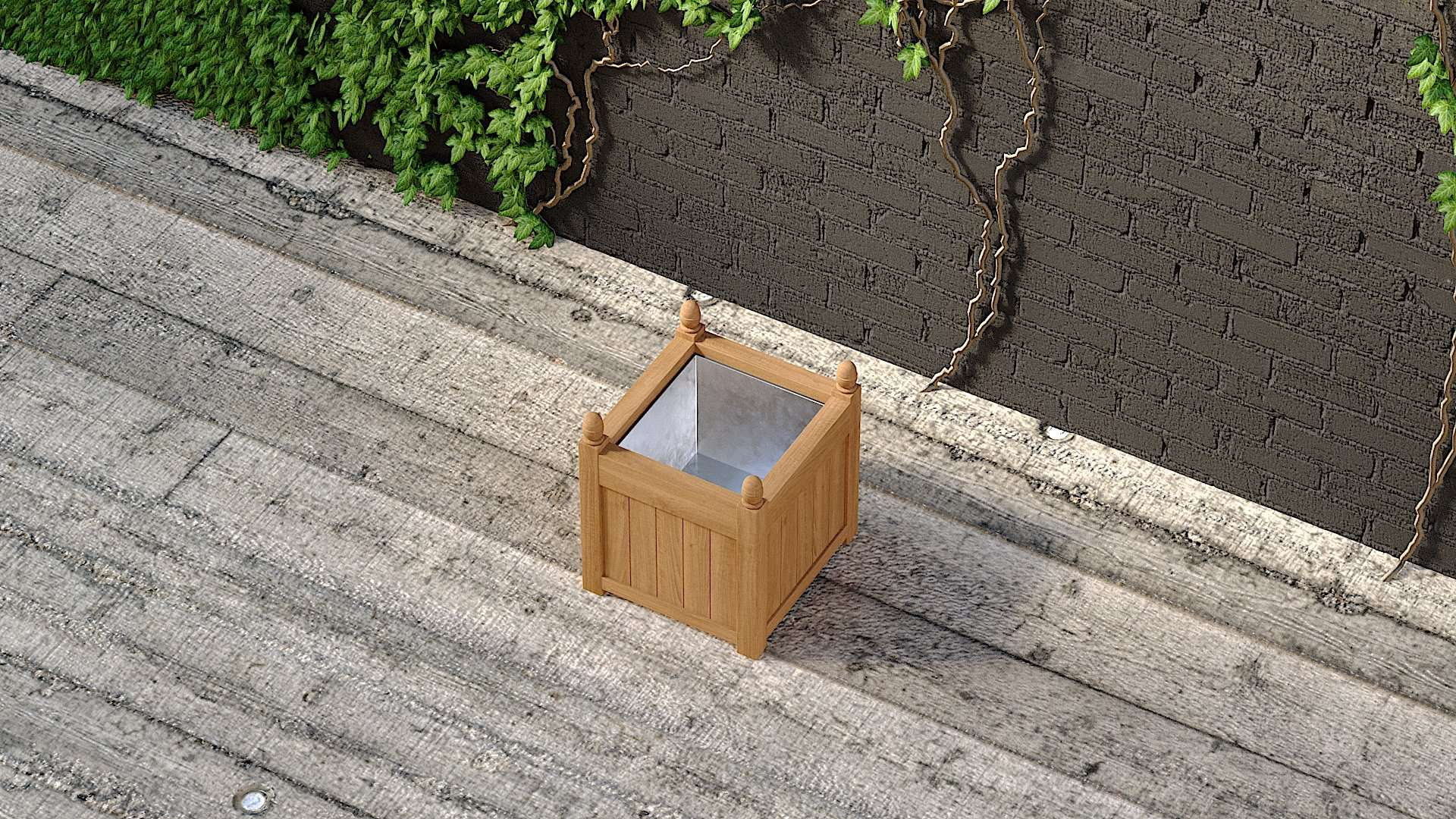Galvanised Medium Garden Planter 55 x 55cm  - Chic Teak® | Luxury Teak Furniture