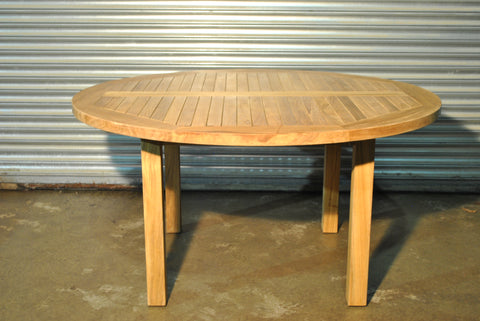 SALE - Garden Teak Round Table 150cm (6 Seater) - NEW