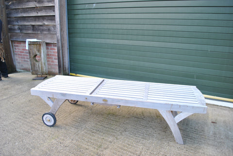 SALE - Teak Sun Lounger High Level with Wheels