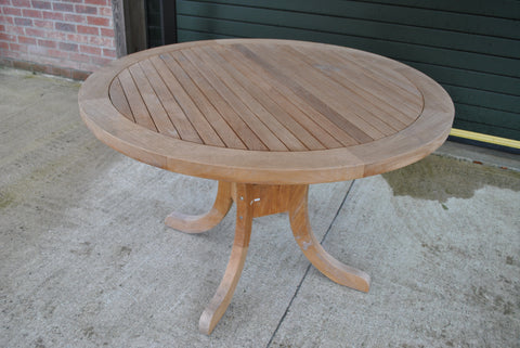 SALE - Garden Teak Pedestal Table 120cm (4-6 Seater) - NEW