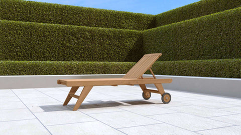 Teak Sun Lounger High Level with Wheels